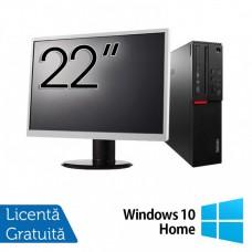 Calculator LENOVO M700 SFF, Intel Core i3-6100 3.70GHz, 8GB DDR4, 120GB SSD + Monitor 22 Inch + Windows 10 Home