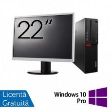Pachet Calculator LENOVO M700 SFF, Intel Core i3-6100 3.70GHz, 4GB DDR4, 500GB SATA + Monitor 22 Inch + Windows 10 Pro