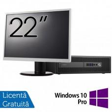 Pachet Calculator HP Prodesk 600 G2 SFF, Intel Core i3-6100 3.70GHz, 4GB DDR4, 500GB SATA + Monitor 22 Inch + Windows 10 Pro