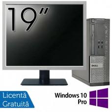 Pachet Calculator DELL 3020 SFF, Intel Core i3-4130 3.40GHz, 4GB DDR3, 500GB SATA, DVD-RW + Monitor 19 Inch + Windows 10 Pro