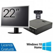 Pachet Calculator HP 6300 SFF, Intel Core i3-2120 3.30GHz, 4GB DDR3, 500GB SATA + Monitor 22 Inch + Webcam + Tastatura si Mouse + Windows 10 Home