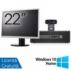 Pachet Calculator HP Prodesk 600 G2 SFF, Intel Core i3-6100 3.70GHz, 4GB DDR4, 500GB SATA, DVD-RW + Monitor 22 Inch + Webcam + Tastatura si Mouse + Windows 10 Home