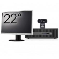 Pachet Calculator HP Prodesk 600 G2 SFF, Intel Core i3-6100 3.70GHz, 4GB DDR4, 500GB SATA, DVD-RW + Monitor 22 Inch + Webcam + Tastatura si Mouse