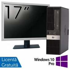 Pachet Calculator HP RP5800 SFF, Intel Core i5-2400 3.10GHz, 4GB DDR3, 250GB SATA, DVD-ROM, 2 Porturi Com + Monitor 17 Inch + Windows 10 Pro