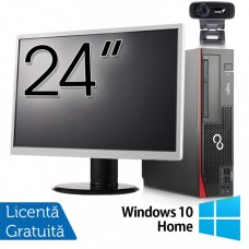Pachet Calculator Fujitsu Esprimo D756 SFF, Intel Core i5-6400T 2.20GHz, 8GB DDR4, 120GB SSD, DVD-RW + Monitor 24 Inch + Webcam + Tastatura si Mouse + Windows 10 Home
