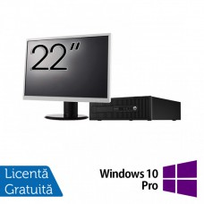 Pachet Calculator HP 800 G1 SFF, Intel Core i7-4770 3.40GHz, 16GB DDR3, 240GB SSD + Monitor 22 Inch + Windows 10 Pro